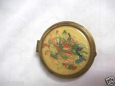 Antique Needle Point/Crochet Compact Mirror Makeup Case by George Rosenberg 1934