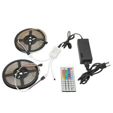 2x 5M RGB 3528 Waterproof 300 LED Strip Adhesive Tape Light+44-Keys Remote+Power