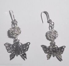 Silver Tone Butterfly & Filigree Rhinestone Ball French Wire Dangle Earrings