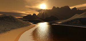 """20""""X40"""" Extra Large Long Canvas Picture Neutral Brown Lake Wall Art Print"""