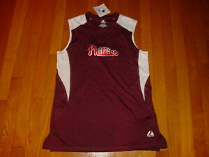 Philadelphia PHILLIES MAJESTIC Womens Sleeveless T-Shirt TOP NWT NEW .. MEDIUM