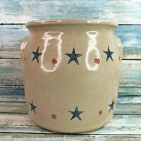 Beaumont Brothers Pottery Star and Dot Salt Glazed Crock Canister Beige Blue Red