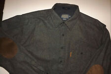 MINT-PENDLETON WOOL TRAIL SHIRT MENS  L/S GRAY ELBOW PATCHES SHIRT XL T974