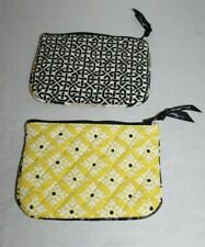 2 Vera Bradley Small Cosmetic Bags Soft Quilted Citron Green White Black Retired