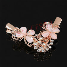 2pcs Metal Rose Gold Plated Rhinestone Butterfly AB Crystal Hair Clip Bobby Pin