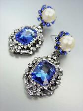 GORGEOUS Artisanal Emerald Sapphire Crystal Pearl Antique Earrings