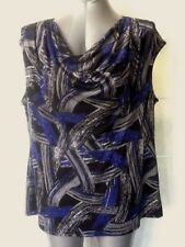 Jacqui E Black, Blue & White Cowl Neck Top, Sleeveless, Size XL - 18