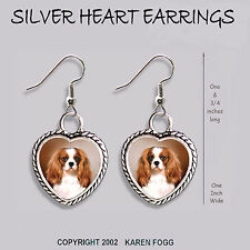 Cavalier King Charles Spaniel Fawn - Heart Earrings Ornate Tibetan Silver