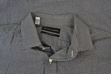 Ralph Lauren Black Label Tailored Fit Black White Plaid Cotton Dress Shirt 16.5