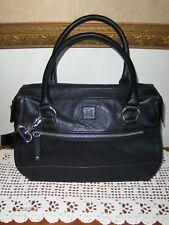 Tignanello Black Satchel Shoulder Bag Handbag Tote Shopper Purse Pebble Grain