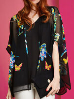 New Plus Size Black floral georgette flattering Kimono cover up duster jacket