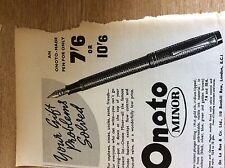 75-1 ephemera 1938 advert onoto minor fountain pen