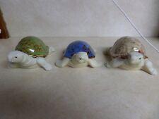 Set of 3 Vtg Porcelain Turtles Glazed Colorful Shells Blue Green Brown