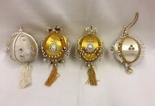 Vintage Assorted Handmade Christmas Ornaments Sequin Beaded Gold Ivory