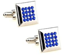 Natural Tanzanite Gem Stone 925 Sterling Silver Men's Cufflink jewelry