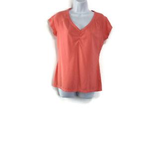 Athleta Womens Medium Top Shirt Short Sleeve Peach v-Neck