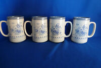 4 Otagiri 16 OZ.Blue & white Mugs For Coffee, Tea Or Any Other Drink