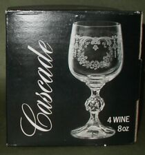 Czech/Bohemia Cascade Etched 8 Oz Wine Glasses Floral Swag Set of 4 Mint in Box