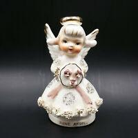 Lefton June Angel Figurine Spaghetti Trim Porcelain White Gold Japan Vintage