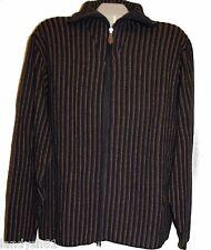 Pelo Blue Brown Striped Knitted Cardigan Zipper Men's Cotton Sweater Sz XL NEW