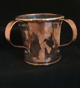 COPPER RITUAL LAVER, HAND HAMMERED & DOVETAILED c 1800