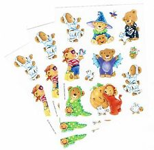 3 Sheets Teddy Bears in Halloween Costumes Scrapbook StickersMummy Dragon Bat