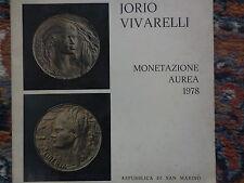 catalogo le monete in oro di Jorio Vivarelli per San marino