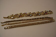 Vintage Lot of 4 Rhinestone Bracelets Lisner Napier