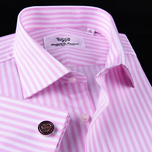Sexy Pink Stripe Men's Herringbone Dress Shirt Business Formal For Smart Ego