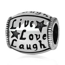 LOVE LIVE LAUGH Genuine 925 sterling silver charm bead fits european bracelet