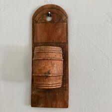 Vintage Wood Barrel Match Holder Wall Hanging Safe Primitive