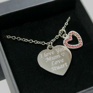 Personalised ENGRAVED Heart Necklace Pendant Jewellery Birthday Christmas Gifts