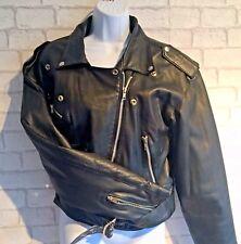 100% Ladies Real Leather Jacket Bikers Style Retro Black Racer Brando size 14
