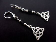 A PAIR OF TIBETAN SILVER CELTIC KNOT DANGLY LEVERBACK HOOK EARRINGS. NEW.