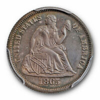 1865 10C Seated Liberty Dime PCGS PR 64 Proof Low Mintage Key Date Toned