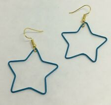 Turquoise Blue Large Star Wire Charms Earrings G116 Kitsch Fun 5cm Long Plastic