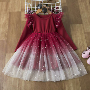 Kids Girls Lace Ruffles Tulle Pageant Gown Birthday Party Princess Wedding Dress