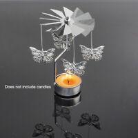 Metal Rotating Spinning Tea Light Candle Holder Center Candlestick Home Decor