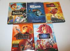 Disney DVD Lot Bambi,Finding Nemo, Lion King, Lion King 2(New) ,Lion King 1 1/2