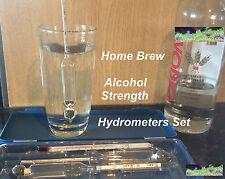 Home Brew Wine Beer Spirits Hooch Alcohol Proof Strength Test Hydrometers Set