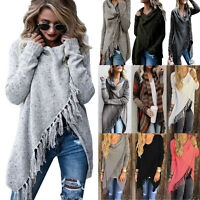 Women Tassel Fringe Cardigan Shawl Winter Jumper Sweater Coats Casual Outwear