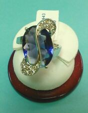 FASHON RING WITH PURPLE STONE AND CLEAR CZ'S