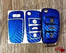 Blue Carbon Fiber Key Wrap Cover Skin Audi Remote A1 A3 A4 A5 A6 A8 TT Q3 Q5 Q7
