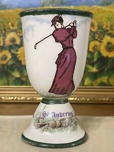 Beautiful Rare c1900 Antique Royal Doulton Porcelain St Andrews Lady Golfer Cup