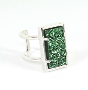 KENDRA SCOTT Lennox Rhodium Plated Green Druzy Adjustable Ring