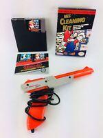 Nintendo NES Zapper Gun Cleaning Kit Super Mario Bros Duck Hunt Game & Manuals