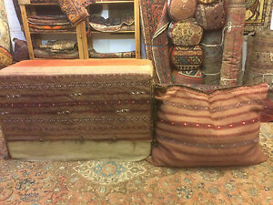 Antique Yamout blanket box and cousion,  very rare with original handles.