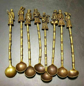 Chinese Old Brass Handmade Carved eight immortals Small spoon 8 pieces