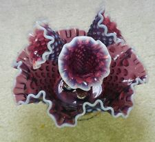 Vtg Fenton Plum Purple Opalescent Hobnail 3 Horn Piece Epergne Set