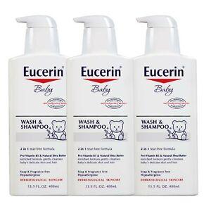 Eucerin, Baby, Wash and Shampoo, Fragrance Freee, 13.5 fl oz (400 ml)